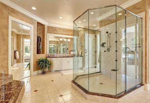 Fotografie, Obraz  Beautiful luxury marble bathroom interior in beige color