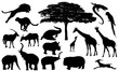 african wildlife silhouette set - black and white vector design collection