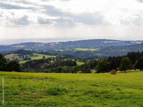 Fotobehang Wit Grass and white cloudy sky, natural panorama
