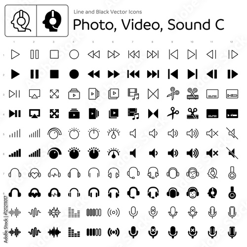 Photo Line and Black Vector Icons - Photo, Video, Sound C