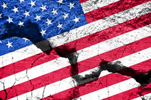 US Divided Concept, Republicans Democrats Society Polarization, American Flag On Cracked Background, 2020 Election In America