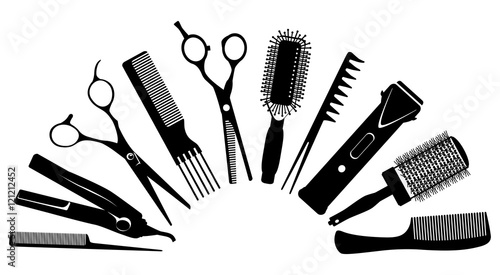 silhouettes of tools for the hairdresser