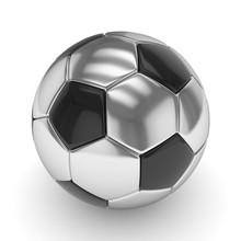 Silver Soccer Ball On White Background. 3D Rendering.