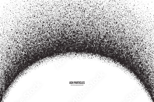 Abstract vector dark gray round ash particles on white background Fototapet