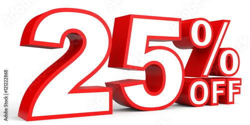 Fotografía  Discount 25 percent off. 3D illustration on white background.