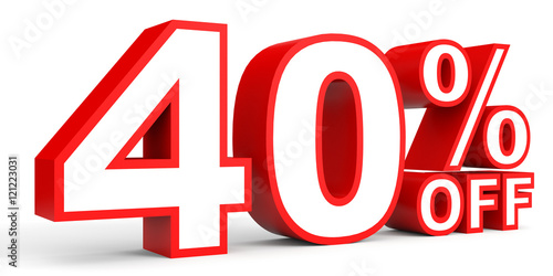 Fotomural  Discount 40 percent off. 3D illustration on white background.
