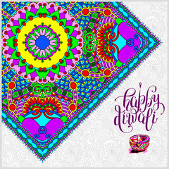 Happy Diwali greeting card with paisley ornamental candle and ha