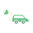 Electric car icon. Vector illustration of renewable source of energy to propel the vehicle. Eco car with electric plug. Alternative power concept. Isolated object