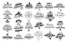 Merry Christmas Typographic Emblems Set.