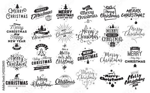Fotografía Merry Christmas typographic emblems set.