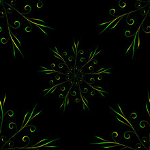 Seamless Pattern With Circular Yellow Green Floral Ornament On Black Background For Design
