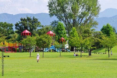 夏の芝生の公園を走る少女