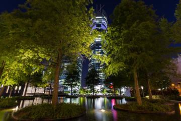 Fototapeta Office buildings in Warsaw at night