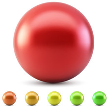 Red Glossy Ball Vector Illustration Isolated On White Background