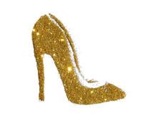 High Heel Shoe Of Golden Glitter Sparkle On White Background