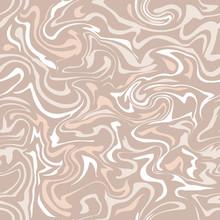 Beige Marble Texture. Vector Illustration. Liquid Paint Imitation Seamess Pattern. Digital Colorful Background In Ebru Suminagashi Technique.