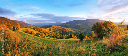 Poster Bleu September rural scene in mountains. Autumn hill panorama