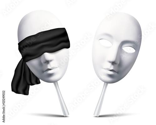 Photo Couple of white vector blindfolded masks for mafia game