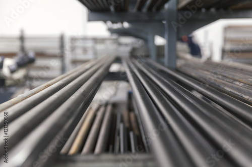 Obraz na płótnie metal pipes on shelf