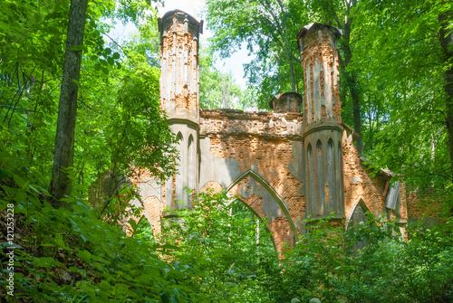 Poster Ruine Ruins of garden bridge-pavilion