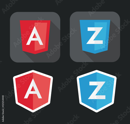 vector illustration of light red and blue shield with A Z letters for javascript framework on the screen Wall mural