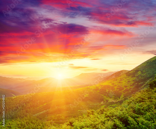 Fototapety, obrazy:  Mountain with the sun