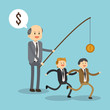 Businessman cartoon and coin icon. Business and solution theme. Colorful design. Vector illustration