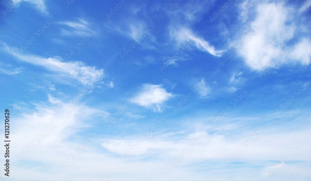 Fototapety, obrazy: Blue sky background with tiny clouds