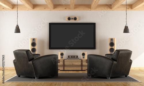 Fotografía  Home cinema system with vintage furniture