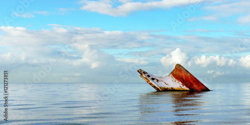 Photo Stands Shipwreck Ship wreck rusty landscape sinking into the sea Trinidad and Tobago