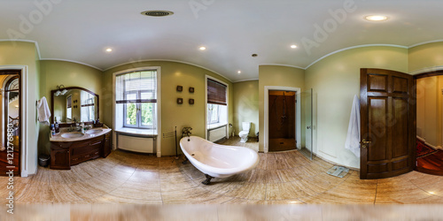 Fotografia  Home interior in panoramic 360 degree view