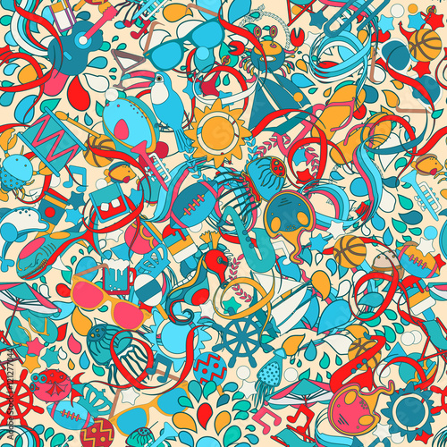 Cotton fabric Cartoon hand-drawn doodles on the subject of  Sea vacation. seamless pattern. Vector colorful background