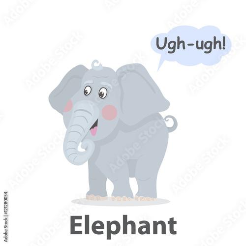 Elephant vector illustration Cute cartoon elephant with