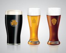 Set Of Different Kinds Of Beer. Realistic Glasses Of Light Weissbier, Bavarian Dark Beer And Irish Black Beer With Golden Emblems. Vector