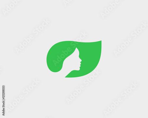 Beautiful Woman Face Logotype Design Template Hair Girl Green
