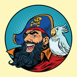 Happy pirate with a parrot on his shoulder