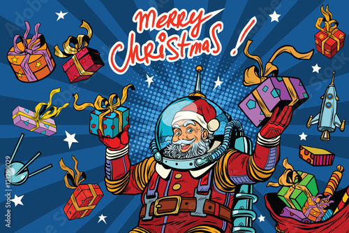 Deurstickers Graffiti collage Space Santa Claus in zero gravity with Christmas gifts