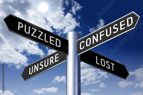 Signpost with four arrows - lost concept (puzzled, confused, unsure, lost).  Stock Illustration | Adobe Stock
