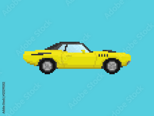 Illustration of yellow sport car in pixel art style