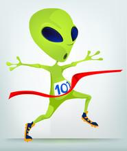 Funny Alien Cartoon Illustration