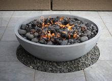 Modern Fire Pit In Backyard Pa...