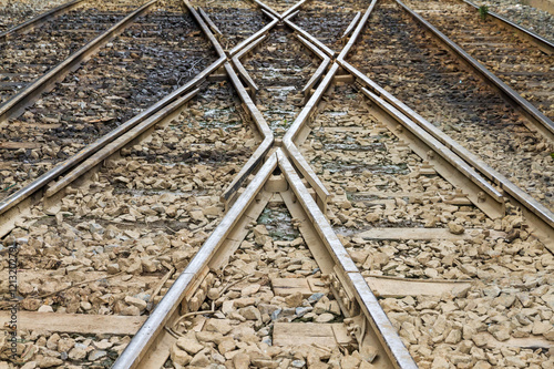 Papiers peints Voies ferrées Railroad tracks at a train station.selective focus.