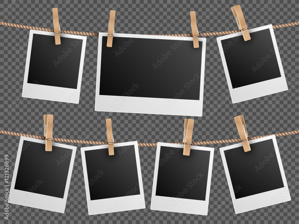 Fototapety, obrazy: Retro photo frames hanging on rope isolated checkered transparent background vector illustration