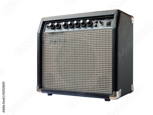 Photo guitar amplifier isolated on white background