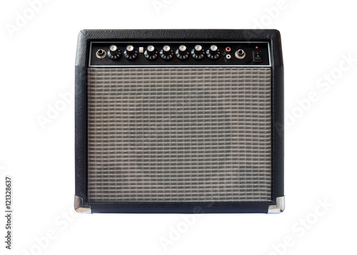 Canvas guitar amplifier isolated on white background