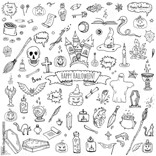 In de dag Boho Stijl Hand drawn doodle Happy Halloween icons set. Vector illustration. Holiday symbols collection. Cartoon various sketch elements: pumpkin, ghost, castle, bat, candy, witches cauldron, zombie hand, skull