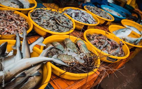 Fish market in Goa, Siolim.
