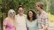 Young beautiful couples joking and laughing in summer camp, holidays, fun