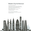 Modern Big City with Buildings and Skyscraper Isolated on White Background , Architecture Megapolis, City Financial Center, Poster Brochure Flyer Design, Vector Illustration