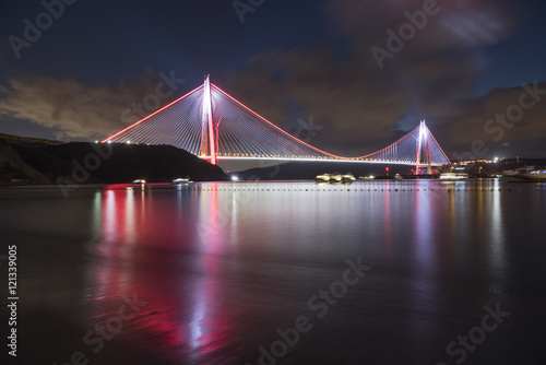 long exposure shot on new bridge of Istanbul, Yavuz Sultan Selim. Poster